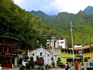 Machu Picchu townsite, located in the valley beneath the archaeological site. Many nice restaurants, as well as the hot springs.